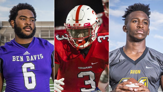 From left to right: LeShaun Minor (Ben Davis), Russ Yeast (Center Grove) and Bryant Fitzgerald (Avon) were tabbed as the best in the state at their position.