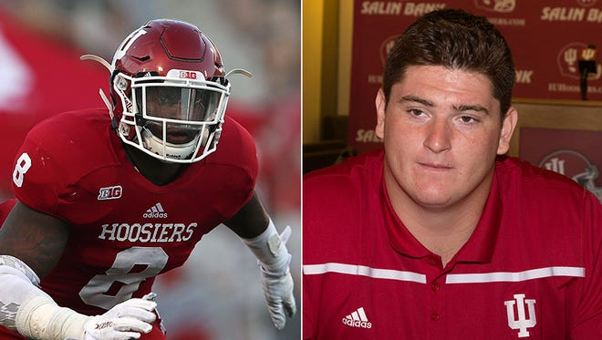 IU football players Tegray Scales (left) and Dan Feeney (right) earned All-American honors.