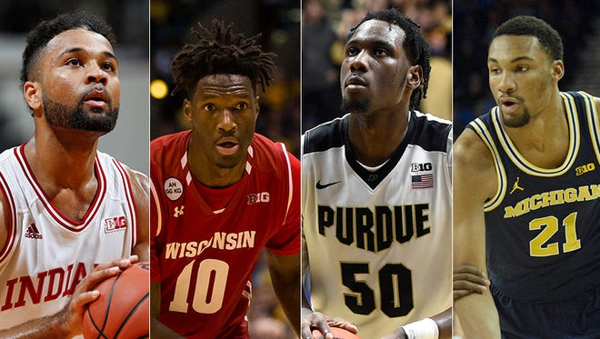 From left to right: Indiana's James Blackmon Jr., Wisconsin's Nigel Hayes, Purdue's Caleb Swanigan and Michigan's Zak Irvin.