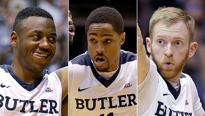 Avery Woodson (from left), Kethan Savage and Tyler Lewis are transfers who make a difference for Butler.