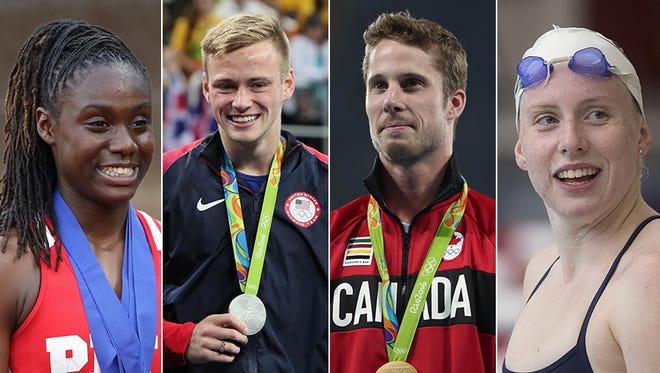Left to right: Lynna Irby, Steele Johnson, Derek Drouin and Lilly King.