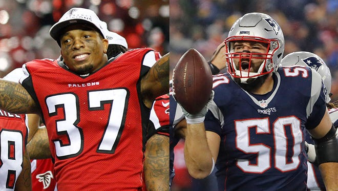 Ricardo Allen of the Atlanta Falcons (left) and Rob Ninkovich of the New England Patriots earned spots in Sunday night's Super Bowl.