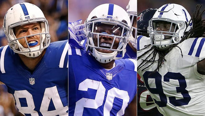 Will the Colts use the franchise tag on any of their pending free agents, including Jack Doyle (from left) Darius Butler or Erik Walden?
