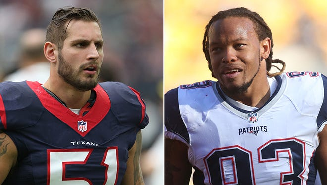 The Colts signed free agent linebackers John Simon (left) and Jabaal Sheard on Friday.