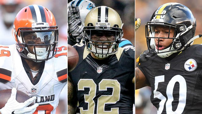 Corey Coleman (from left), Kenny Vaccaro and Ryan Shazier are recent No. 15 picks in the NFL Draft. That's where the Indianapolis Colts pick on April 27.