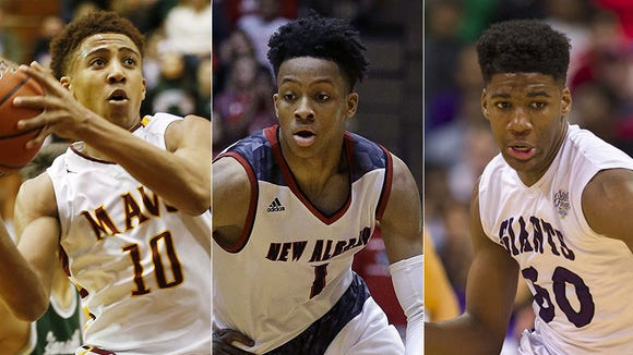Left to right: Robert Phinisee, Romeo Langford and Aaron Henry.