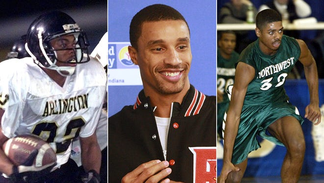 From left to right: Derrick Ellis (Arlington), George Hill (Broad Ripple) and Rodney Carney (Northwest).