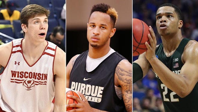 Left to right: Ethan Happ, Vincent Edwards and Miles Bridges are among the top returning players in the Big Ten.