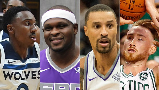 Jeff Teague (from left), Zach Randolph, George Hill and Gordon Hayward are Indiana natives who play in the NBA. They all changed teams in the offseason, too.