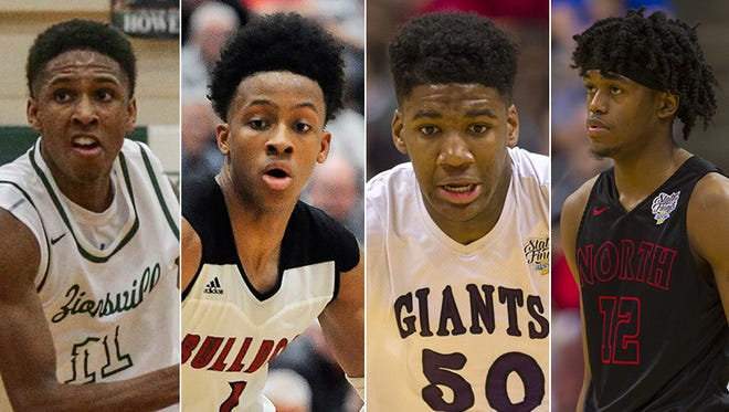 Left to right: Isaiah Thompson, Romeo Langford, Aaron Henry and Keion Brooks.