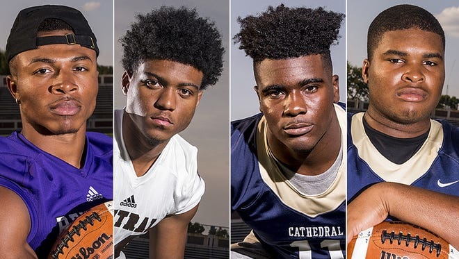 Left to right: Johnny Adams (Ben Davis), Cam McGrone (Lawrence Central), Hugh Davis (Cathedral) and Emil Ekiyor (Cathedral).