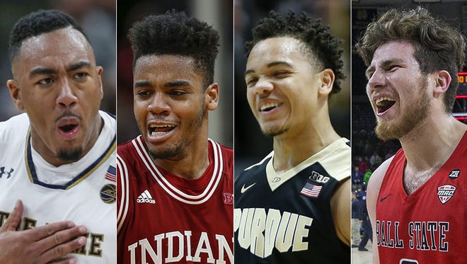 Bonzie Colson of Notre Dame (from left), Juwan Morgan of Indiana, Carsen Edwards of Purdue, Tayler  Persons of Ball State.
