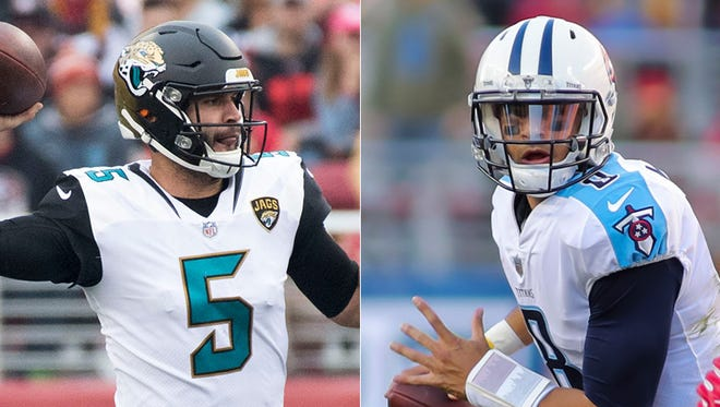 Blake Bortles, quarterback of the Jacksonville Jaguars, and Marcus Mariota, quarterback of the Tennessee Titans.
