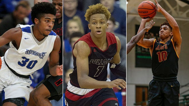 Left to right: Noah Smith (Hamilton Southeastern), Romeo Langford (New Albany) and Robert Phinisee (McCutcheon).