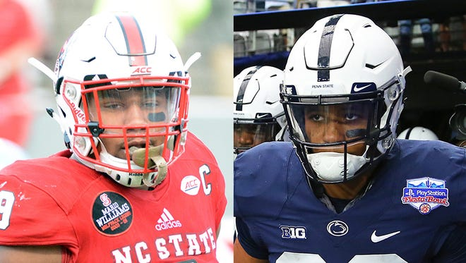 Bradley Chubb, a pass rusher from North Carolina State (left), and Saquon Barkley, a Penn State running back.