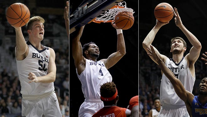 Left to right: Joey Brunk, Tyler Wideman and Nate Fowler handle the post for Butler.