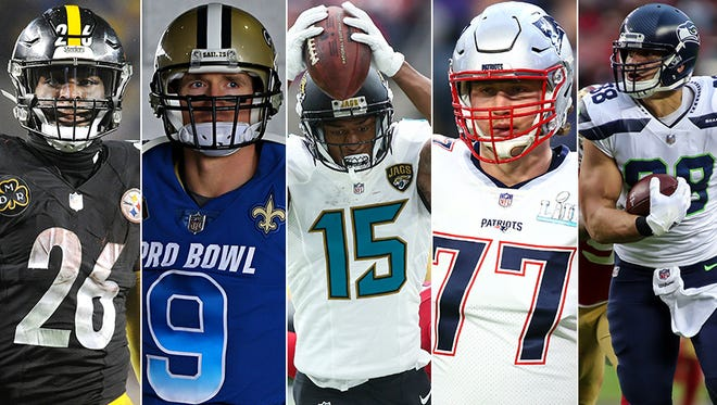 Some of the NFL's top offensive free agents, from left to right: Le'Veon Bell, Drew Brees, Allen Robinson, Nate Solder, Jimmy Graham.
