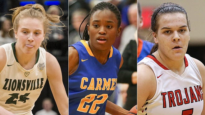 Left to right: Maddie Nolan of Zionsville, Tomi Taiwo of Carmel and Cassidy Hardin of Center Grove.