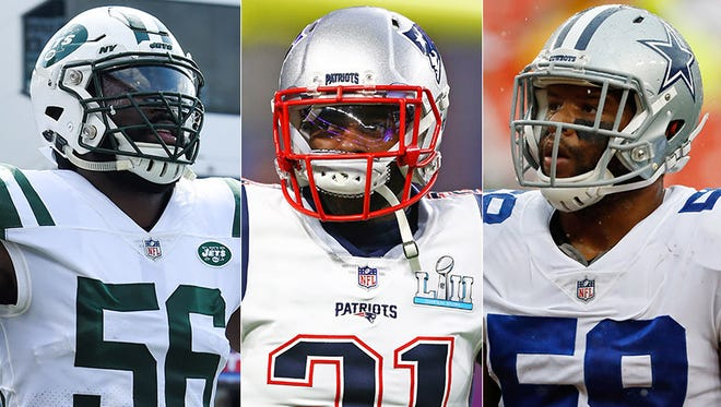 Left to right: Potential Colts free agent targets DeMario Davis, Malcolm Butler and Anthony Hitchens.