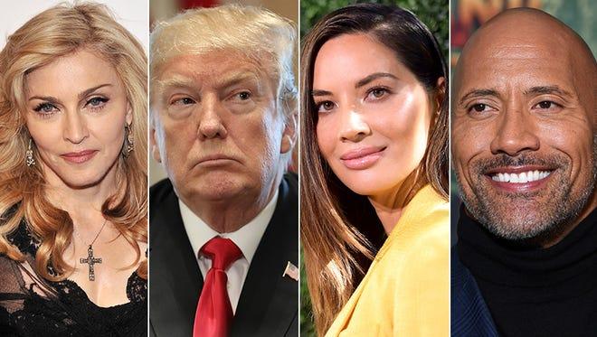 L to R: Madonna, Donald Trump, Olivia Munn and Dwayne Johnson.
