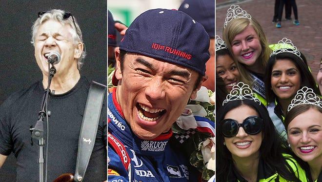Steve Miller Band (from left), Indy 500 winner Takuma Sato and 500 Festival princesses.