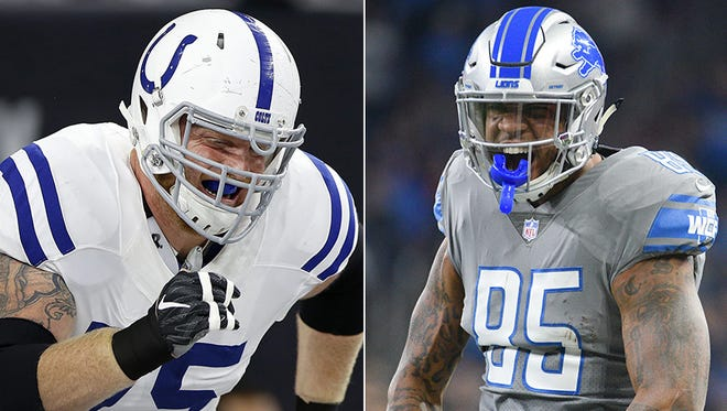 Colts' Eric Ebron (right) and Jack Mewhort (left) have incentive-laden contracts.