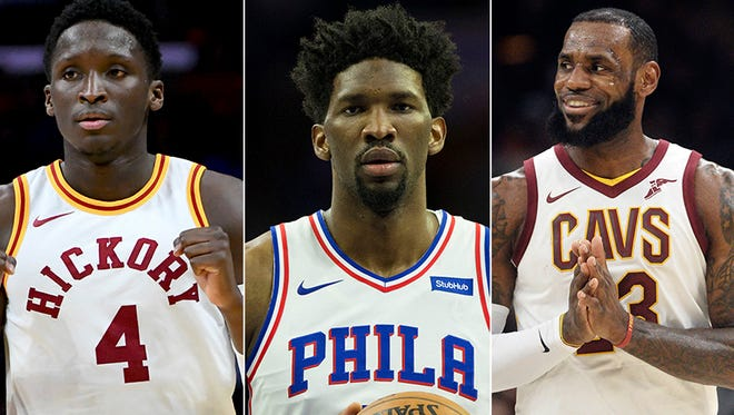 Victor Oladipo of the Indiana Pacers (left), Joel Embiid of the Philadelphia 76ers (middle) and LeBron James of the Cleveland Cavaliers are racing for home-court advantage in the Eastern Conference playoffs.