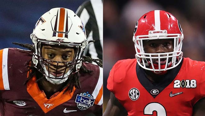 Tremaine Edmunds (left) and Roquan Smith are considered potential draft picks for the Indianapolis Colts.