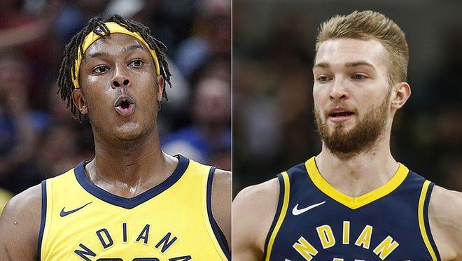 Indiana Pacers big men Myles Turner (left) and Domantas Sabonis.