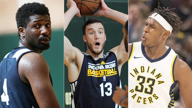 Left to right: Solomon Hill, Miles Plumlee and Myles Turner.