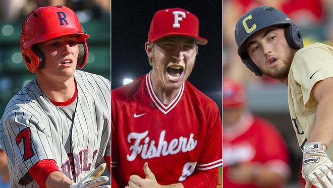 Left to right: Roncalli's Nick Schnell, Fishers' Luke Albright and Cathedral's Jared Poland.