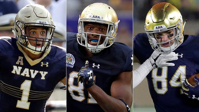 Left to right: Alohi Gilman, Miles Boykin and Cole Kmet figure to have big roles for Notre Dame in 2018.