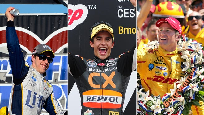 From left to right: Brad Keselowski, Marc Marquez and Ryan Hunter-Reay