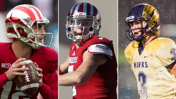 Left to right: IU QBs Zander Diamont and Nate Sudfeld and Decatur Central's Tommy Stevens.
