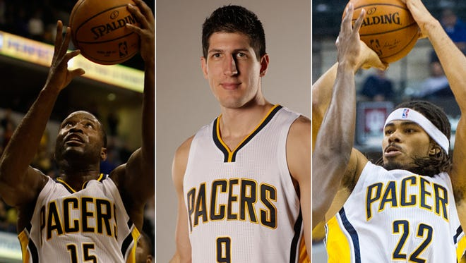 Donald Sloan (left), Damjan Rudez and Chris Copeland of the Indiana Pacers