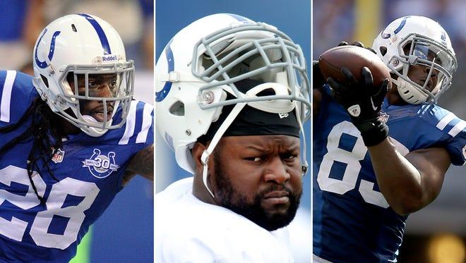 Greg Toler (left), Gosder Cherilus (center) and Dwayne Allen (right) will all miss the Colts' game Sunday vs. Jacksonville.