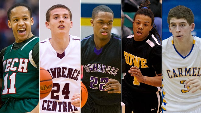 From left to right: C.J. Walker (Tech), Kyle Guy (Lawrence Central), K.J. Walton (Brownsburg), Harris Brown (Howe) and Ryan Cline (Carmel).