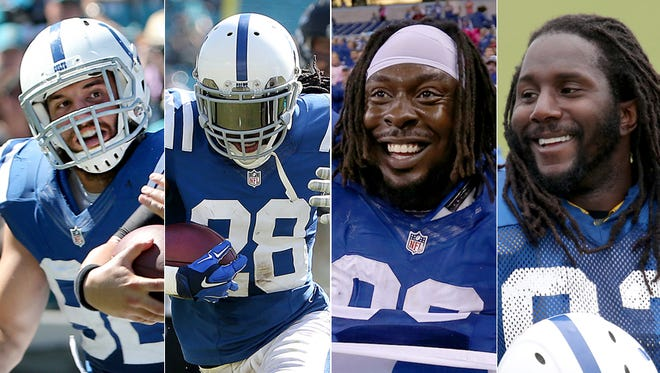The Colts' defense has gotten a lift from 2013 acquisions (from left to right) Bjoern Werner, Greg Toler, Ricky Jean Francois and Erik Walden,
