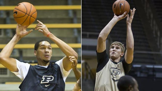 Purdue's two 7-footers: A.J. Hammons (left) and freshman Isaac Haas (right).