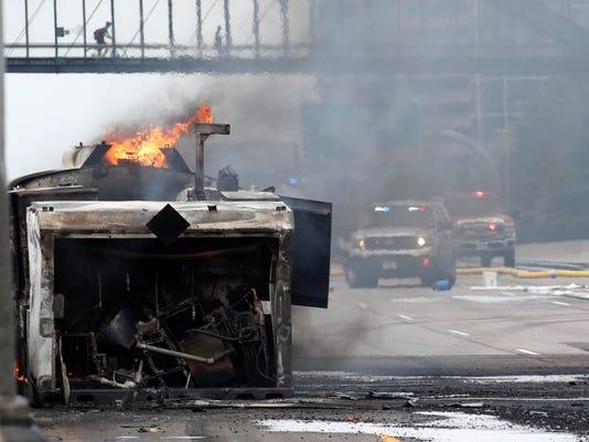 Tanker burns on Interstate 25