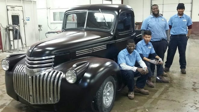 It may not be a sleigh with reindeer, but bet Santa would love to drive this ride for Christmas!   Earle C. Clements Job Corps Auto Body students recently had a rare opportunity to restore a 1946 Chevrolet pickup truck.   Jamarkus King, Eh Paw, Anton Harris and Devon West invested many training hours in body work and painting this piece of automotive history.