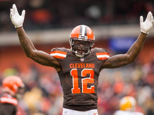 Cleveland Browns wide receiver Josh Gordon celebrates his touchdown reception against the Green Bay Packers during the first quarter at FirstEnergy Stadium.