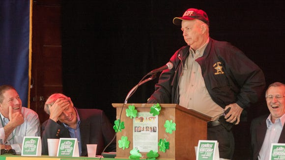 Sheriff Larry Campbell takes his turn to roast during a roast of Jackie Pons last March.