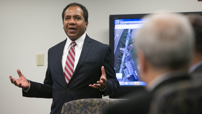 Wilmington Mayor Dennis P. Williams discusses plans for an expansion to the Chase Center on Tuesday at the Louis L. Redding City/County Building. The project is estimated to cost $25 million.