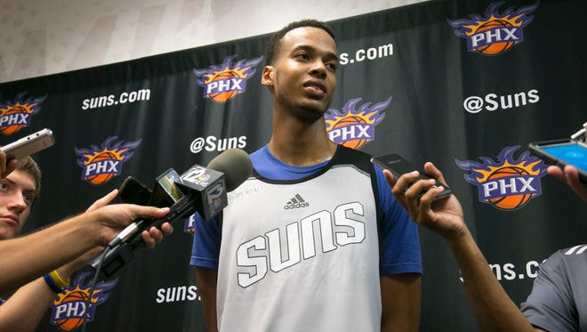 Skal Labissiere, a center/ forward from Kentucky, talks to the media following a Suns pre-draft workout at Talking Stick Resort Arena in Phoenix on Wednesday, June 8, 2016.