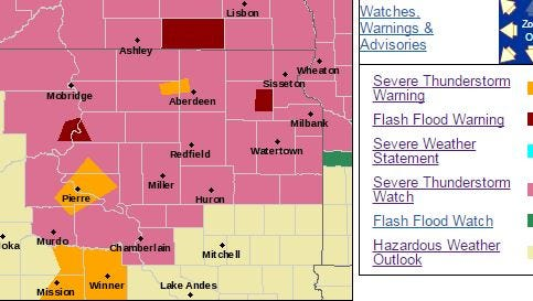 Pockets of central and northern SD saw severe storms Wednesday night.