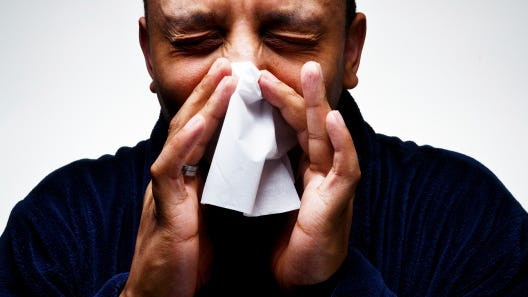 File: Sneezing Man, Suffering from cold and Flu
