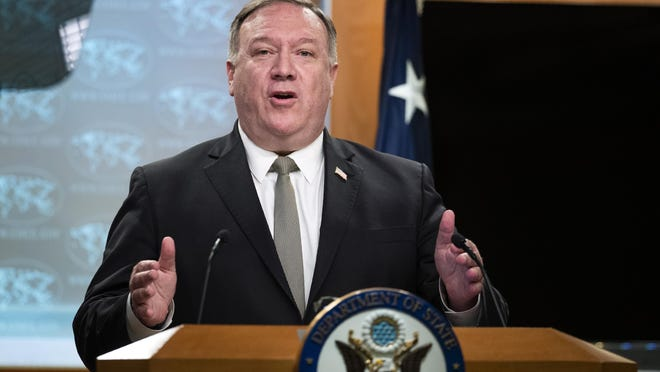 Secretary of State Mike Pompeo, speaks during a news conference at the State Department, Wednesday, July 1, 2020, in Washington.
