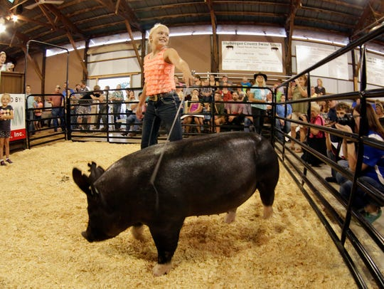 Grand Champion Market Hog is guided by Ella Bindl during