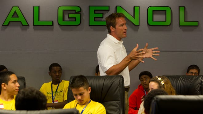 Mitch Ruzek speaks to local high school students as they tour Algenol Biofuels, part of an NAACP and FGCU pre-collegiate summer camp Tuesday in Fort Myers. .